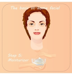 Young woman cares and protects her face with vector