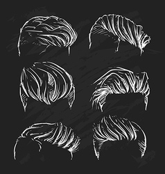 Hipster man hair style hand drawn haircut vector