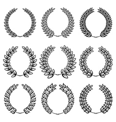 Set from black laurel wreath vector image