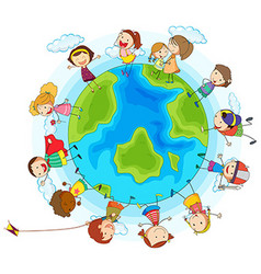 Many children around the world vector image