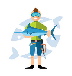 Spearfisher with large marlin fish vector