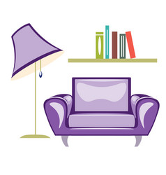the armchair and floor lamp vector image