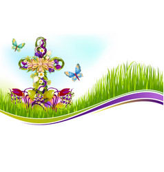 Easter crucifix of flowers greetting card vector