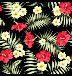 Tropical plumeria and green palm leaves vector