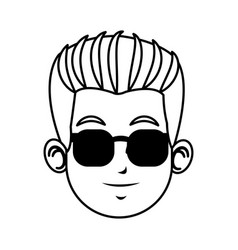 face young man character with sunglasses line vector image