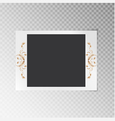 Photo frame with gold flowers vector