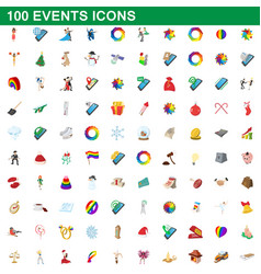 100 events icons set cartoon style vector