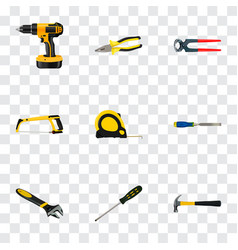 Realistic chisel carpenter pliers and other vector