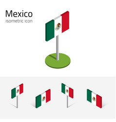 Mexican flag set of isometric flat icons 3d style vector