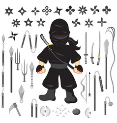 Character ninja and weapon cartoon vector