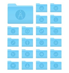 Os x folders with art and design icons vector