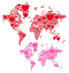Love world map with red hearts vector