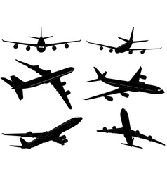 Airplanes silhouettes vector
