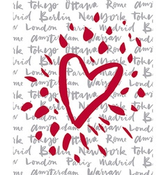 Postcard love cities of the world vector