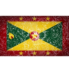 Flags grenada with broken glass texture vector