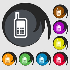 Mobile phone icon sign symbol on eight colored vector