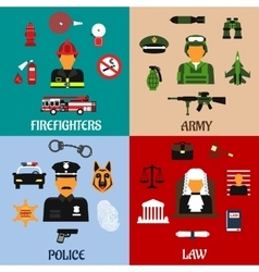 Fireman soldier judge and policeman icons vector