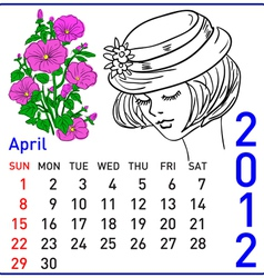 2012 year calendar in april vector