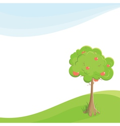 Lone apple tree in a field under blue sky vector
