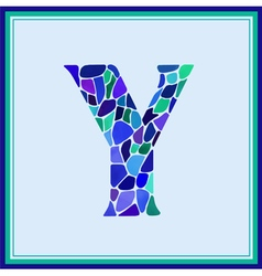 Y - letter - green watercolor mosaic vector