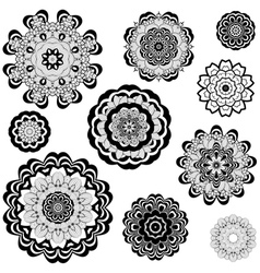 Flower ornament black and white5 vector