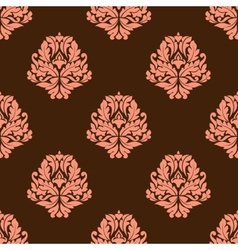 Baroque styled pink flowers in seamless pattern vector