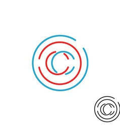 C letter monogram logo circle intersection line vector image vector image