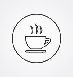 cap of tea outline symbol dark on white background vector image
