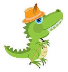 Cartoon of the dinosaur in hat vector image vector image