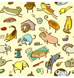 cats and dogs seamless vector image vector image