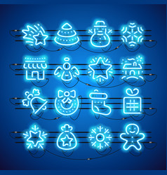 christmas neon icons blue vector image vector image