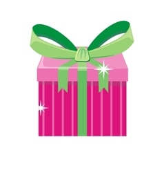 Christmas pink gift box with green bow vector