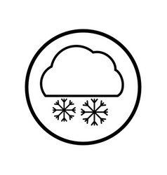 cloud and snowflake icon in circle line - vector image