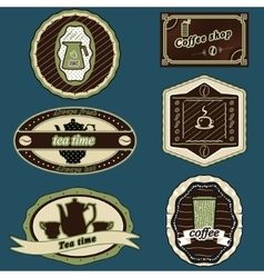 coffee and tea stickers green vector image vector image