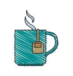 Color crayon stripe cartoon mug with bag tea and vector