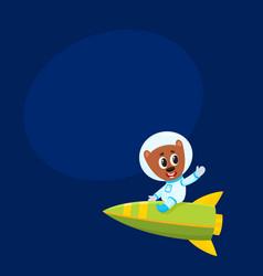 cute little teddy bear astronaut spaceman vector image