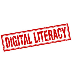 Digital literacy square stamp vector