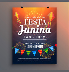 festa junina party invitation flyer design with vector image vector image