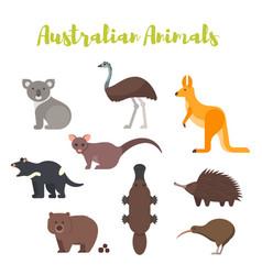 Flat style set of australian animals vector