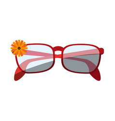 Glasses with small flower on frame icon image vector