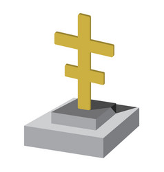 grave with cross cartoon icon vector image