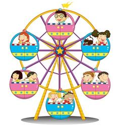 Happy children riding the ferris wheel vector image vector image