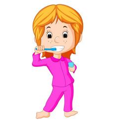 happy cute girl brushing teeth vector image