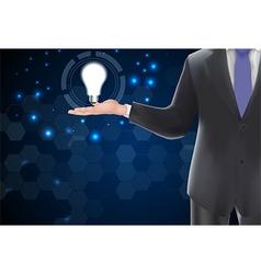 Idea concept light bulb on hand vector image