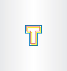 letter t colorful icon logo logotype symbol vector image
