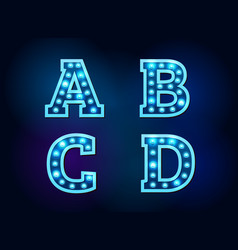 Light font alphabet text bright vector