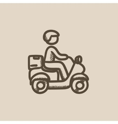 Man carrying goods on bike sketch icon vector