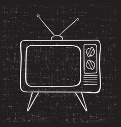 old tv set hand drawn vintage vector image vector image