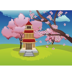 Oriental house and blooming sakura vector