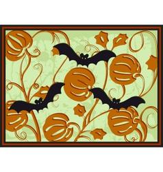 pumpkins and bats vector image vector image